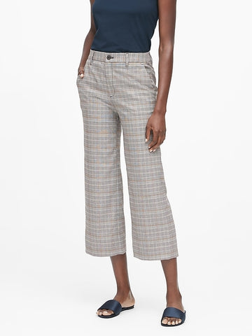 Slim Wide-Leg Cropped Pant in Plaid