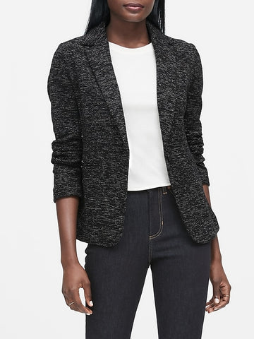 Unstructured Knit Tweed Blazer in Black