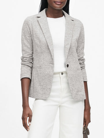 Unstructured Wool-Blend Knit Blazer in Light Gray
