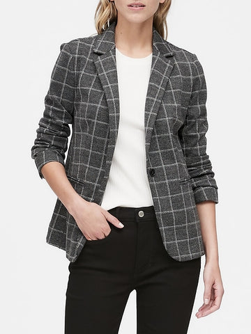 Unstructured Knit Blazer in Charcoal Gray Windowpane Plaid