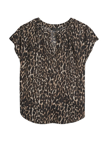 Popover Top in Leopard Print