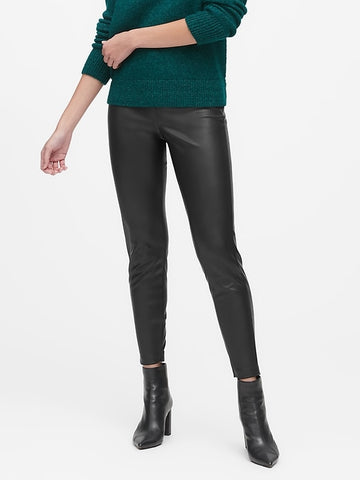 Devon Legging-Fit Vegan Leather Pant in Black
