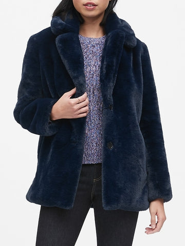 Faux Fur Jacket in Navy