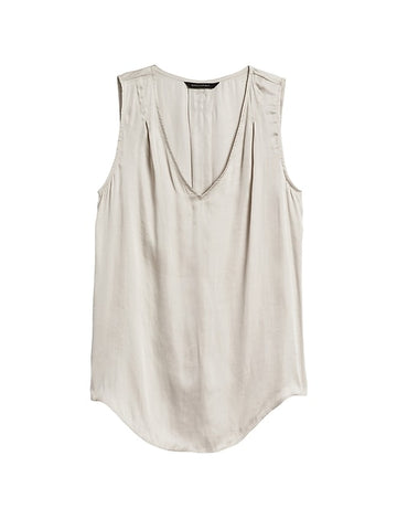 Soft Satin Pleated Drapey Tank in Selenite Taupe