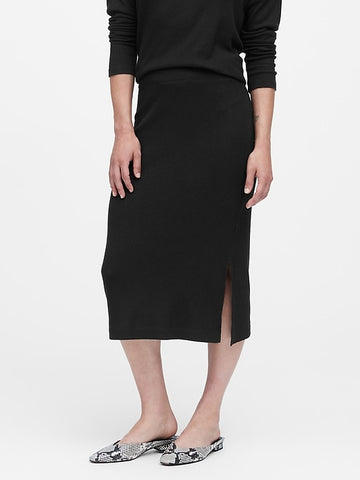Luxespun Knit Pencil Skirt in Black