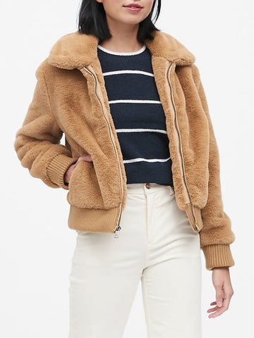 Faux Fur Bomber in Camel