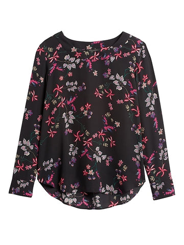 Pleat-Back Blouse in Floral