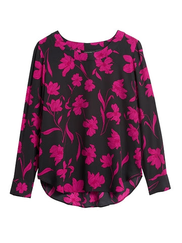 Pleat-Back Blouse in Black & Pink Floral