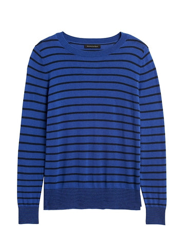 Silk Cashmere Stripe Sweater in Blue Stripe
