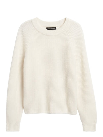 Aire Cropped Sweater in Ivory White