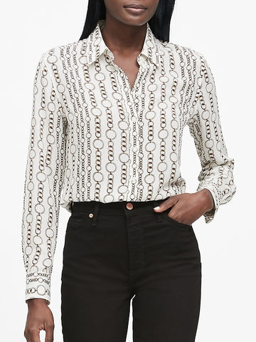 Dillon Classic-Fit Shirt in Warm White Chain Print