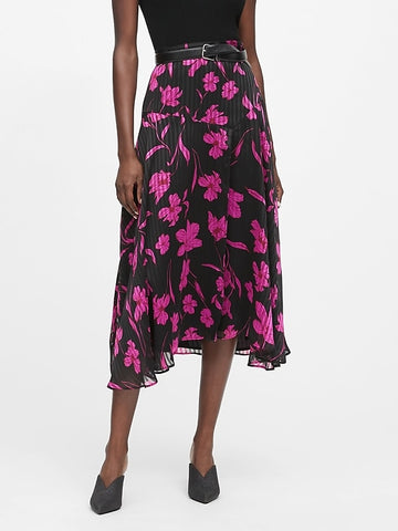 Floral Asymmetrical Skirt in Pink Floral