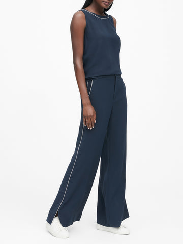 High-Rise Wide-Leg Pant in Navy