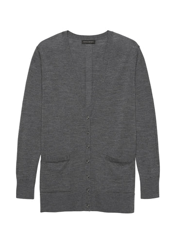 Merino Boyfriend Cardigan Sweater in Heather Charcoal Gray
