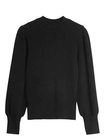 Puff-Sleeve Cropped Sweater in Black