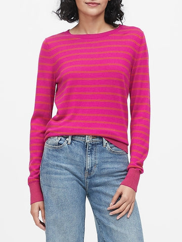 Silk Cashmere Stripe Sweater in Pink Stripe