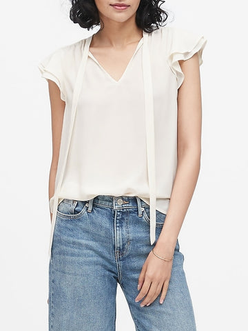 Tie-Neck Top in White