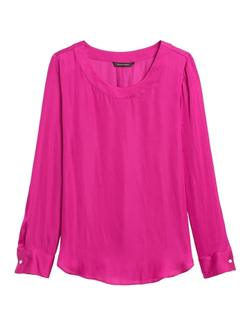 Soft Satin Pleat-Back Blouse in Fuchsia Purple