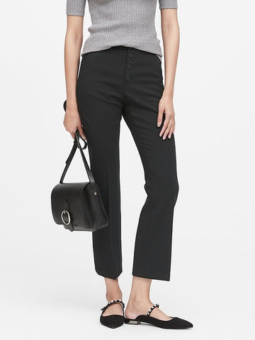 High-Rise Crop Flare Button Fly Pant in Black