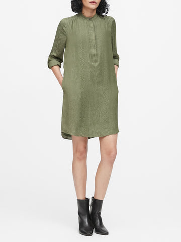 Print Utility Popover Shirtdress in Olive Green Snake Print