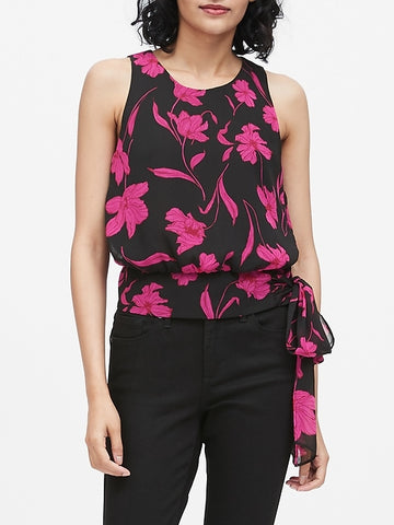 Floral Tie-Hem Top in Floral