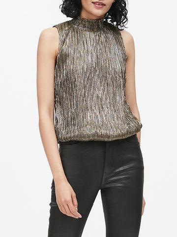 Metallic High-Neck Blouse in Gold Mix