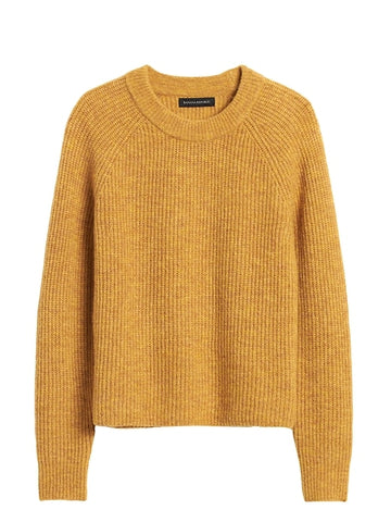 Aire Cropped Sweater in Mustard Yellow