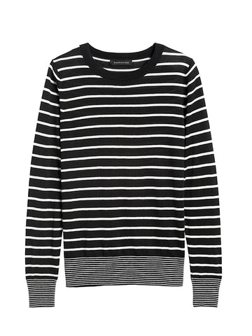 Silk Cashmere Stripe Sweater in Black & White Stripe
