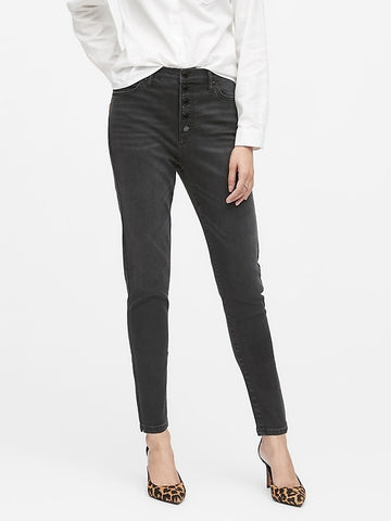 High-Rise Skinny Button-Fly Jean in Washed Black