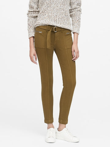 Mid-Rise Skinny Utility Jean in Cindered Olive Green