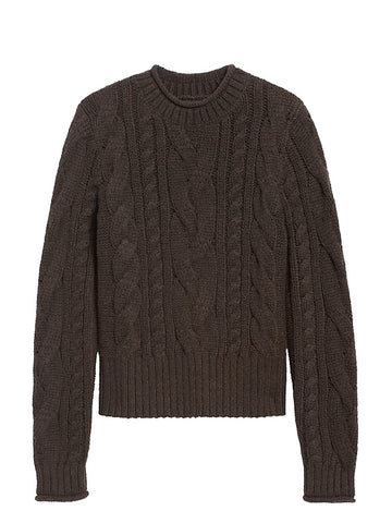 Cable-Knit Cropped Sweater in Rich Chocolate Brown