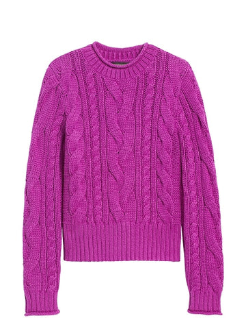 Cable-Knit Cropped Sweater in Bright Magenta