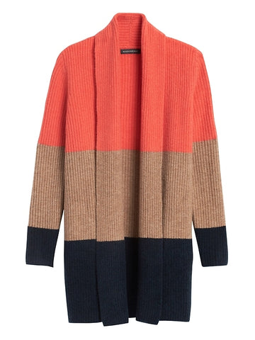 Color-Block Long Cardigan Sweater in Multi Red
