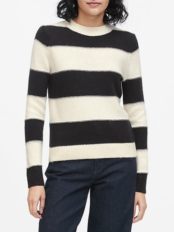 Rugby Stripe Sweater in Black & White Stripe