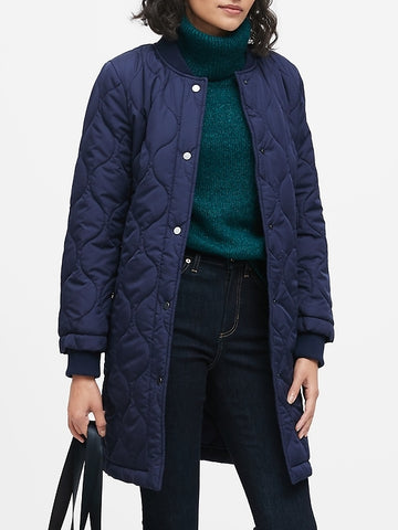 Water-Resistant Quilted Long Coat in Navy