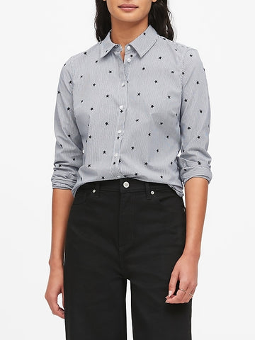 Riley Tailored-Fit Star Shirt in Navy Star
