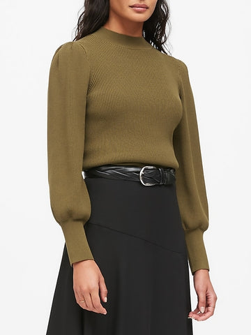 Puff-Sleeve Cropped Sweater in Cargo Olive Green
