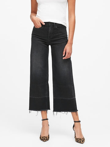 High-Rise Wide-Leg Cropped Jean in Washed Black