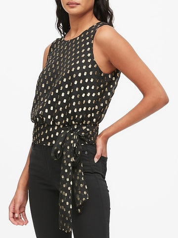 Gold Dot Tie-Hem Top in Gold Mix