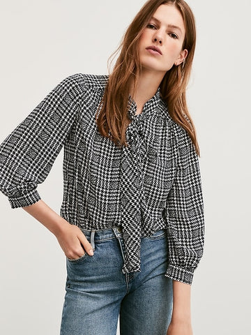 Tie-Neck Blouse in Navy Houndstooth Plaid