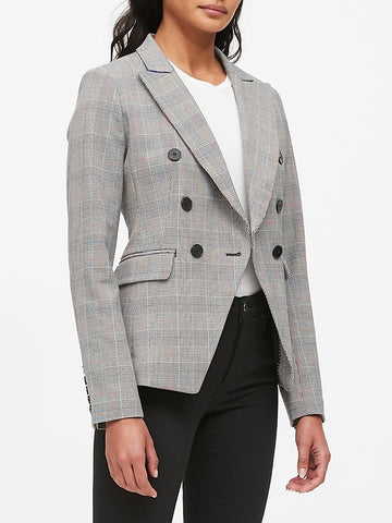 Double-Breasted Plaid Blazer in Black & White Plaid