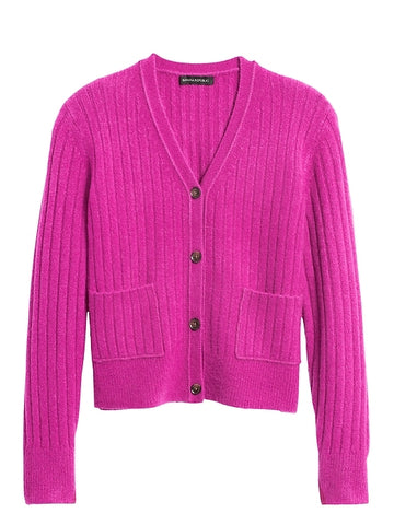 Aire Cropped Cardigan Sweater in Bright Magenta