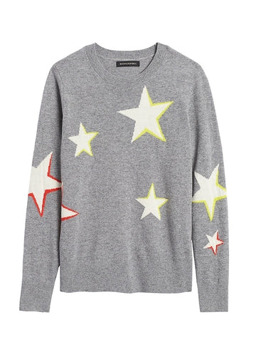 Star Sweater in Gray & White Stars With Yellow & Red