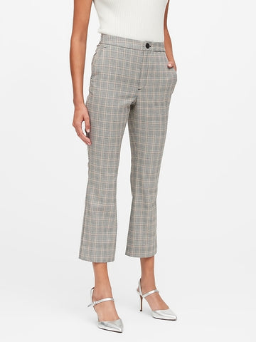 High-Rise Crop Flare Plaid Pant in Charcoal Gray Glenplaid
