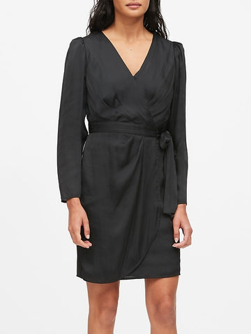 Puff-Sleeve Wrap Dress in Black