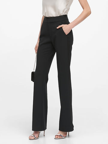 High-Rise Flare Tuxedo Pant in Black
