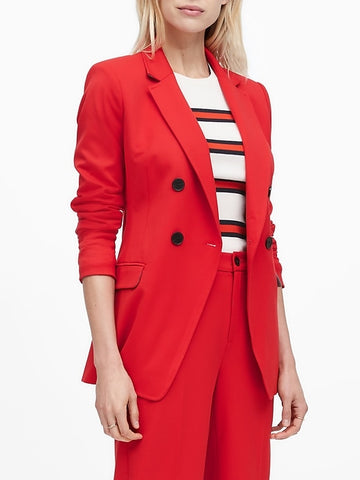 Slim Double-Breasted Blazer in Ultra Red