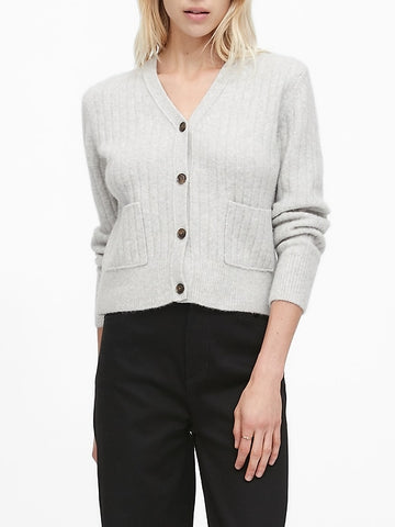 Aire Cropped Cardigan Sweater in Heather Gray