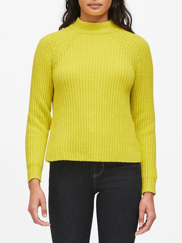 Chunky High Crew-Neck Sweater in Neon Yellow-Green