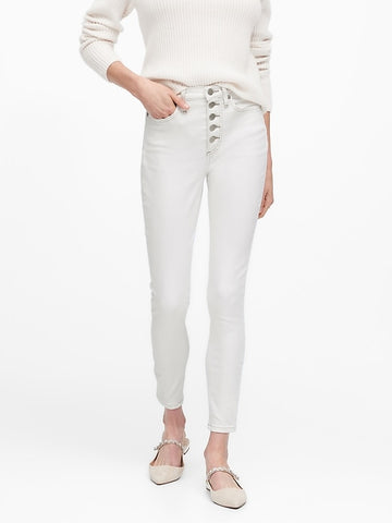 High-Rise Skinny Button Fly Jean in White
